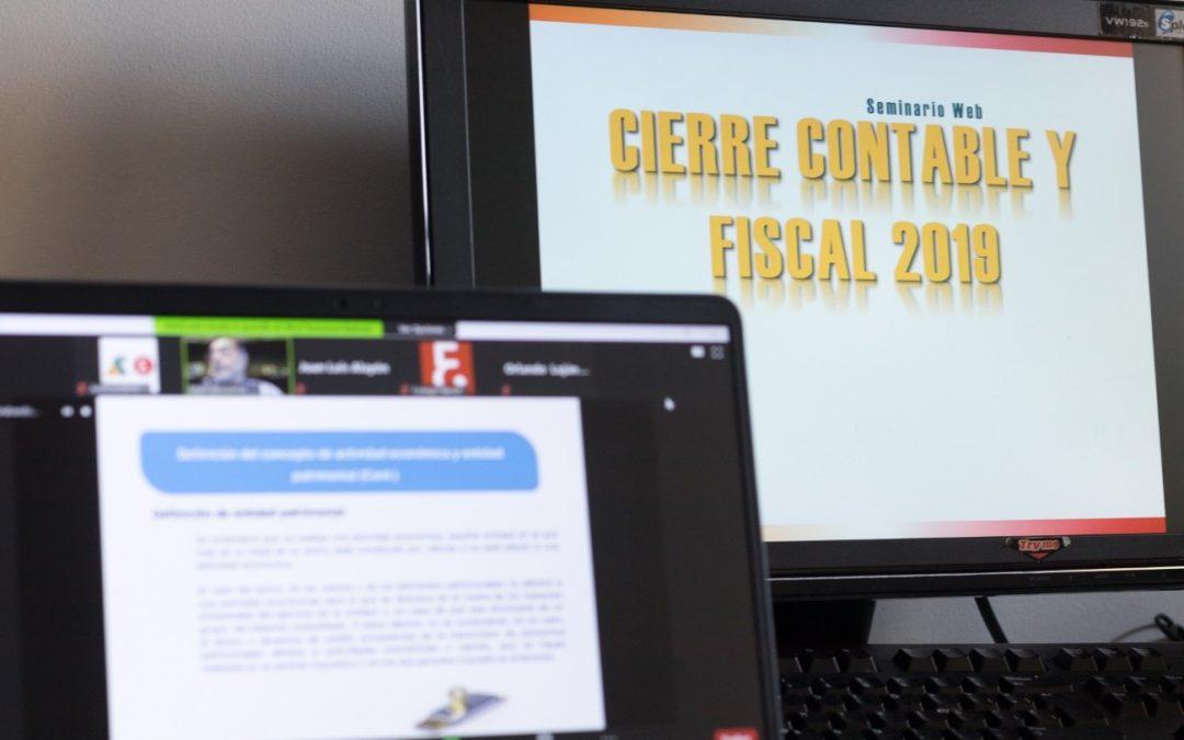 Celebrados varios Seminarios Web sobre: Renta 2019 | Cierre Contable y Fiscal 2019  | Novedades DIC y RIC