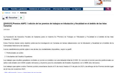 I edición de los premios de trabajos en tributación y fiscalidad en el ámbito de las Islas Canarias