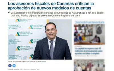 Los asesores fiscales de Canarias critican la aprobación de nuevos modelos de cuentas
